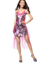 Anime Costumes AF-S2-664417 Latin Dance Costume Women's Rose Red Sequined Mini Dress