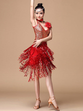 Anime Costumes AF-S2-664387 Latin Dance Costume Women's Red Sequined Fringe Dress With Cravat