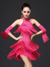 Anime Costumes AF-S2-664427 Latin Dance Costume Women's Rose Red Fringe Dress With Armwear