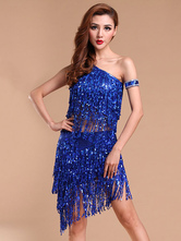 Anime Costumes AF-S2-664433 Latin Dance Costume Women's Blue Sequined Fringe Skirt Outfit Ballroom Costume