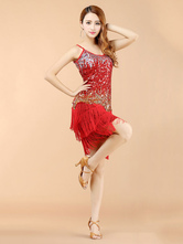 Anime Costumes AF-S2-664389 Latin Dance Costume Women's Red Sequined Dress