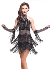 Anime Costumes AF-S2-664399 Latin Dance Costume Women's Black Sequined Fringe Dress With Gloves