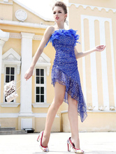 Anime Costumes AF-S2-664415 Latin Dance Costume Women's Royal Blue Sequined Dress