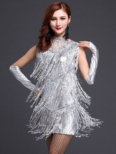Anime Costumes AF-S2-664429 Latin Dance Costume Women's Silver Sequined Fringe Dress Outfit