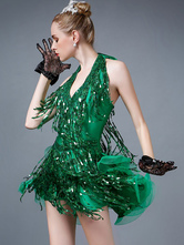 Anime Costumes AF-S2-664419 Latin Dance Costume Women's Green Sequined Mini Dress