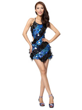 Anime Costumes AF-S2-664405 Latin Dance Costume Women's Royal Blue Sequined Dress