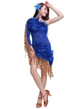 Anime Costumes AF-S2-664385 Latin Dance Costume Women's Royal Blue Fringe Sequined Dress