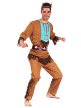 Anime Costumes AF-S2-664695 Sexy Couple Costume Native American Halloween Light Brown Outfit