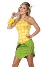 Anime Costumes AF-S2-664711 Halloween Corn Costume Women's Yellow Plant Costume Bodycon Dress