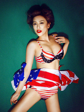 Anime Costumes AF-S2-664691 Sexy Patriotic Costume Halloween American Flag Women's Sexy Bikini With Cover Up