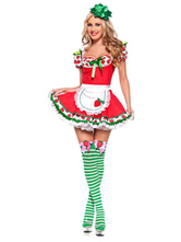 Anime Costumes AF-S2-664703 Halloween Strawberry Costume Women's Mini Dress With Headgear