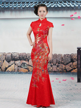 Anime Costumes AF-S2-664759 Chinese Cheongsam Dress Halloween Red Asian Girl Costume Traditional Cheongsam