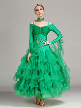 Anime Costumes AF-S2-666113 Ballroom Dance Dress Green Organza Long Sleeve Off The Shoulder Ballroom Dancing Costume