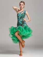 Anime Costumes AF-S2-666107 Latin Dance Dress Green One Shoulder Ruffles Latin Dancing Costume
