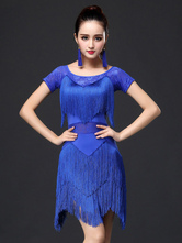 Anime Costumes AF-S2-666121 Latin Dance Dress Royal Blue Tassels Tiered Short Sleeve Latin Dancing Costume