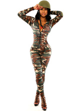 Anime Costumes AF-S2-666155 Sexy Army Costume Women's Camo Bodycon Jumpsuit With Hat