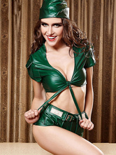 Anime Costumes AF-S2-666045 Sexy Sailor Costume Halloween Women's Green PU Shorts Outfit