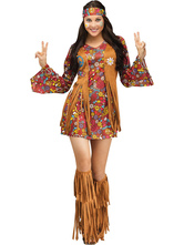 Anime Costumes AF-S2-666151 Women's Carnival Costume Light Brown Tassel Dress Outfit