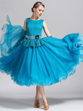 Anime Costumes AF-S2-666111 Ballroom Dance Dress Organza Ocean Blue Sleeveless Ballroom Dancing Costume