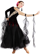 Anime Costumes AF-S2-666115 Ballroom Dance Dress Black One Sleeve Beading Ballroom Dancing Costume