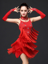 Anime Costumes AF-S2-666123 Red Latin Dance Dress Tassels Tiered Sleeveless Beading Latin Dancing Costume