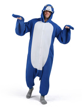 Anime Costumes AF-S2-666125 Kigurumi Pajama Shark Onesie Snuggie Royal Blue Flannel Animal Sleepwear For Adult