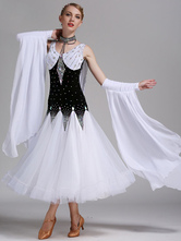 Anime Costumes AF-S2-666109 Ballroom Dance Dress White Organza Beading Sleeveless Ballroom Dancing Costume