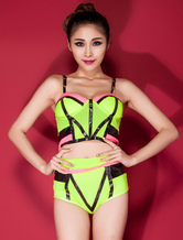 Anime Costumes AF-S2-666529 Sexy Basketball Girl Costume Neon Green Strappy Sleevless Crop Top With Shorts Cheerleader Costume