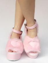 Zapatos de lolita de PU de puntera abierta Color liso rosa estilo street wear ewCDSlv
