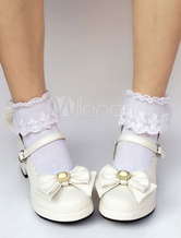 Zapatos de lolita de PU de puntera redonda con lazo de color lila estilo street wear NACDlWxJ