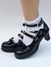 Zapatos de lolita de puntera redonda de PU con lazo negros estilo street wear 3QZwQtexfJ