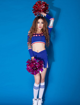Anime Costumes AF-S2-666543 Sexy Basketball Girl Costume Royal Blue Crop Top With Skirt Hot Cheerleader Costume