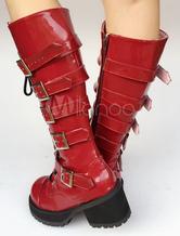 Botas de lolita de puntera redonda rojas de dos tonos tcIEK2u