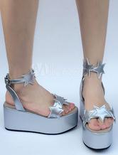 Zapatos de lolita de PU de puntera abierta con dibujo de estrellas plateados estilo street wear 3xBwfI