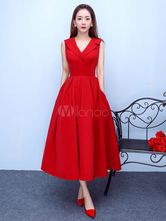 Burgundy Cocktail Dress Notch Collar Party Dress Satin A Line Tea Length Occasion Dress With Pockets wedding guest dress