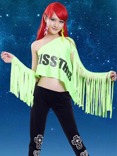 Anime Costumes AF-S2-666941 Sexy Jazz Dance Costume Green One Shoulder Printed Crop Top With Arm Covers Dance Costumes