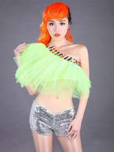 Anime Costumes AF-S2-666929 Sexy Jazz Dance Costume Green Tulle Beaded One Shoulder Crop Top Dance Costumes For Women