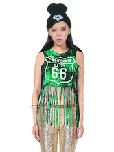 Anime Costumes AF-S2-666933 Jazz Dance Costume Green Sleeveless Printed Top With Tassels