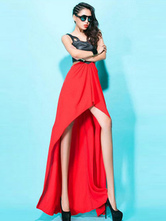 Anime Costumes AF-S2-666979 Jazz Dance Costume Red Sleeveless Cut Out High Low Dress Dance Costume