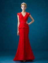 Lace Mother Dress Red Mermaid Evening Dress V Neck Beading Flower Illusion Short Sleeve Fake 2 Piece Wedding Guest Dresses With Train