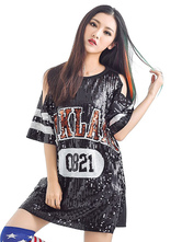 Anime Costumes AF-S2-666955 Jazz Dance Costume Black Sequined Printed Shift Dress Women's Dance Costume