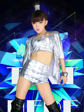 Anime Costumes AF-S2-666943 Jazz Dance Costume Silver Crop Top With Shorts In 3 Piece Dance Costumes