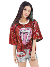 Anime Costumes AF-S2-666951 Jazz Dance Costume Red Sequined Short Sleeve Printed T Shirt Women's Dance Costume