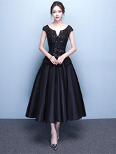 Satin Cocktail Dress Beading Backless Party Dress Dark Navy Lace Notched Neckline Short Sleeve A Line Tea Length Occasion Dress With Flower Sash