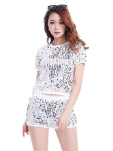 Anime Costumes AF-S2-666947 Jazz Dance Costume Silver Sequined Top With Shorts Women's Dance Costumes