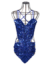 Anime Costumes AF-S2-666959 Sexy Jazz Dance Costume Blue Strappy Sleeveless Cut Out Jumpsuit Dance Costumes