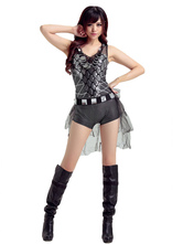 Anime Costumes AF-S2-666975 Jazz Dance Costume Silver Sleeveless Jumpsuit Women's Dance Costumes
