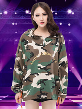 Anime Costumes AF-S2-666945 Jazz Dance Costume Green Camo Printed Long Sleeve Hoodie Women's Dance Costume