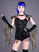 Anime Costumes AF-S2-666983 Jazz Dance Costume Black Beaded Romper Dance Costumes With Gloves
