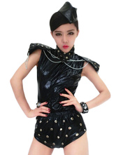 Anime Costumes AF-S2-666961 Jazz Dance Costume Black Beaded Sleeveless Romper Dance Costumes